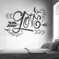 Beautiful wall decal arrow design (Interior & Exterior Available) Indie / Boho Decor, Feather and Arrow, Tribal Design, Bedroom Wall Decor