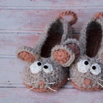 Mouse Soft Slippers - crochet handmade mice slippers for children and adults, animal home shoes footwear