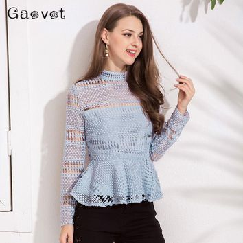 Gaovot 2018 Autumn Women Blouse Shirt High Collar Long Sleeve Lace Hollow Out Sexy Blusas Peplum Back Zipper Elegant Tops S-XL