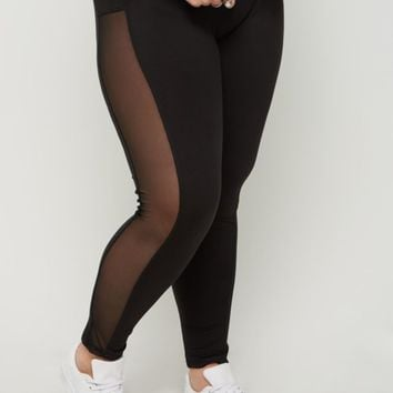 Plus Black Mesh Striped High Rise Legging | Plus Leggings | rue21