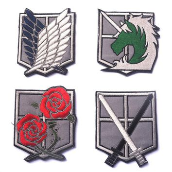 Cool Attack on Titan  on animation onslaught of giant  Investigation Corps four embroidery armband armband Patch HOOK/LOOP 9.5*7.7CM AT_90_11