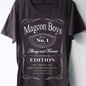 High Quality DTG Printed shirt magcon boys Jack Daniels parody ,Funny shirt Mens and Woman Size Available by BosBandungan