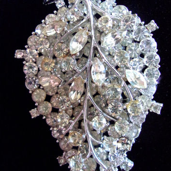 Clear Rhinestone Leaf VENDOME brooch, 2 Layers, Rhodium Plated, Vintage
