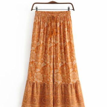 Autumn cotton print tassel pants beach pants