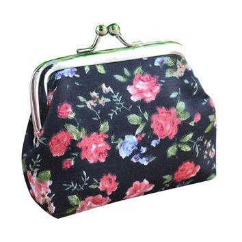 Lady Vintage Flower Printed Small Hasp Wallet