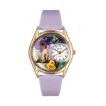 Whimsical Watches Healthcare Nurse Gift Accessories Siamese Cat Lavender Leather And Goldtone Watch