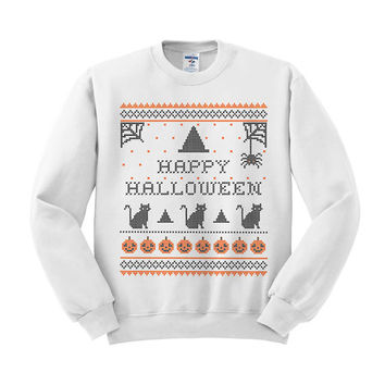 Crewneck - Happy Halloween - Sweater Jumper Pullover Funny Saying Phrase Slogan Quote Womens Ladies Outfit Oversized