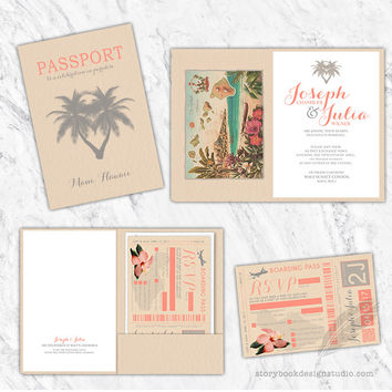 Destination Wedding Passport and Boarding Pass Invitation Set