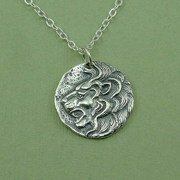 Lions Head Coin Necklace - sterling silver lion head pendant jewelry - Leo