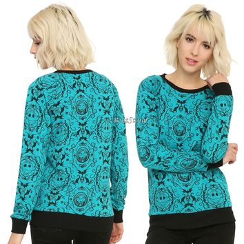 Licensed cool NEW THE NIGHTMARE BEFORE CHRISTMAS BAROQUE GREEN PULLOVER SHIRT LONG SLEEVE TOP