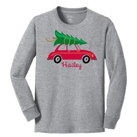 Christmas Tree on Volkswagen Long Sleeve Gray T-Shirt