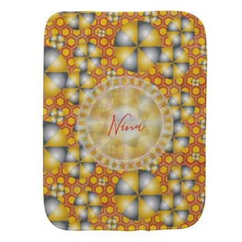 Circles Pattern on a Honeycomb Background Burp Cloth
