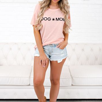 Dog Mom Graphic Tee (Blush)