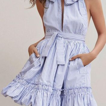 New Women Light Blue Striped Ruffle Sashes Band Collar Halter Neck Backless Mini Dress