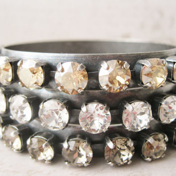 Chunky Rhinestone Bangle Bracelet. Choose your Colour. Antiqued Silver. Topaz, Silver, Clear. Rocker Style. Old Hollywood Glam. 1 piece.