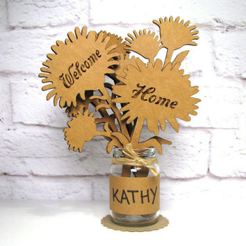 WELCOME HOME - Corrugated Cardboard Flowers Bouquet In Mini Mason Jar Great Gift Idea