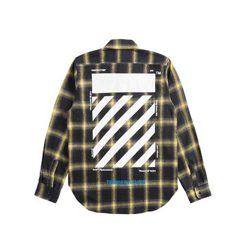 OFF-WHITE autumn and winter new twill letter plaid striped men and women shirt Yellow+black