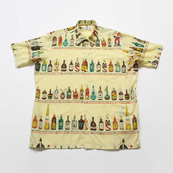 Vintage 60s Liquor Bottle Shirt / 1960s Men's Novelty Rockabilly Alcohol Bottle Shirt XL