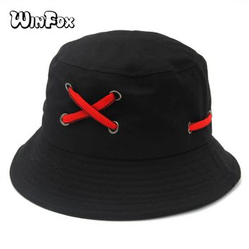 Winfox New Fashion Hip Hop Summer Black White Solid Shoelace Bucket Hats Boonie Caps  For Mens Womens