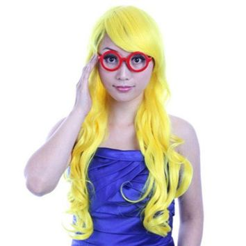 60cm Long Curly Front Lace Cosplay Party one piece Hair cap Wig Yellow