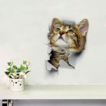 3D Cat Animal Bathroom Bedroom Decor Wall Sticker
