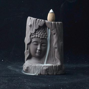 Hand Carved Buddha's Prayer Back Flow Incense Burner Statue - with 20 pc Sandlewood Incense