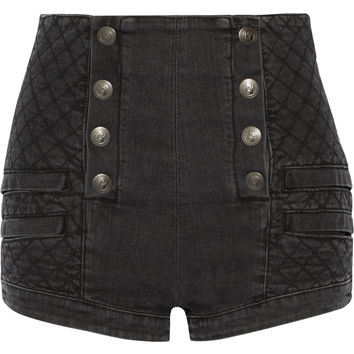 Button-detailed quilted stretch-denim shorts | Pierre Balmain | US | THE OUTNET
