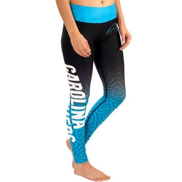 Carolina Panthers Women's Gradient Leggings – Black
