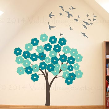 Beautiful turquoise and mint flower tree vinyl wall decal, home decor, housewares, wall art