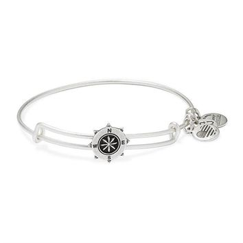 Alex and Ani Compass Slider Charm Bangle - Rafaelian Silver Finish