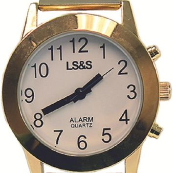 LSS Touch Face Talking Watch, White face Gold band