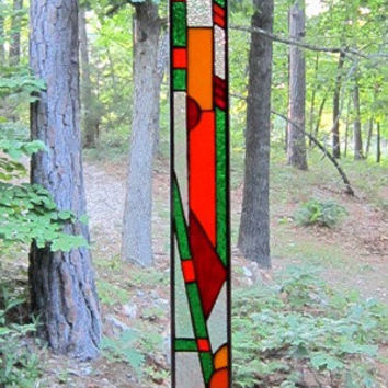 HOUSEWARMING GIFT, Stained Glass Panel, Orange, Green, Red, Abstract, window decor, suncatcher, Stained Glass, window treatment