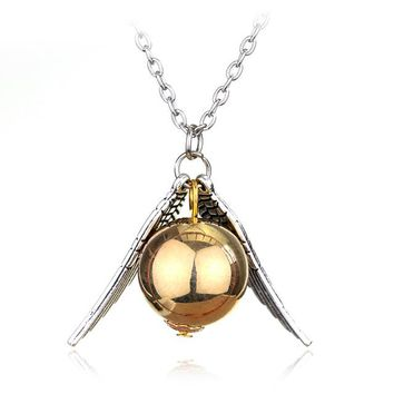Golden Snitch Fly Ball Wings Pendant Necklace