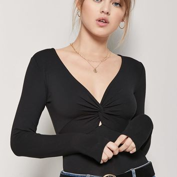 Plunging Twist-Front Bodysuit