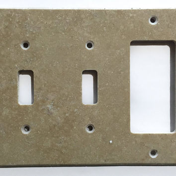 Light Walnut Travertine Double Toggle Rocker Switch Wall Plate / Switch Plate / Cover - Honed
