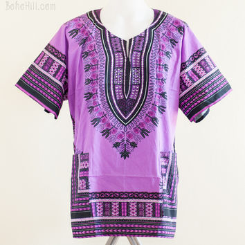 Size XL African Dashiki Kaftan Hippie Festival Shirt (Full Purple)