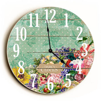 Green Vintage Flowers Unique Wall Clock by Dickery Dock