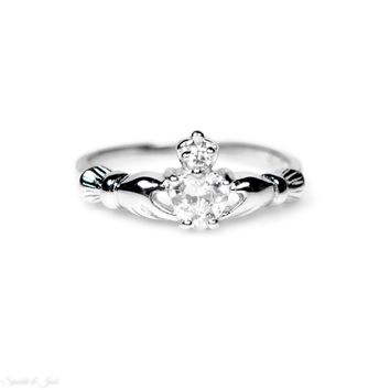 Sterling Silver Children's Small Clear (April) CZ Heart Claddagh Ring