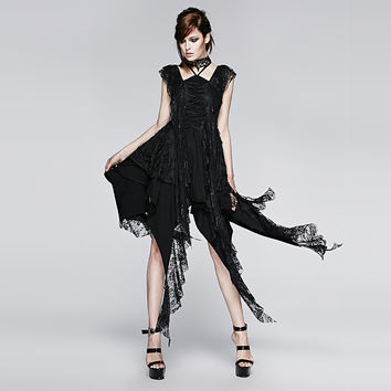 Punk New Design Irregular Decadent Black Gothic Lace Sexy Casual Dress