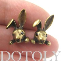 SALE - Realistic Cute Bunny Rabbit Animal Stud Earrings in Bronze