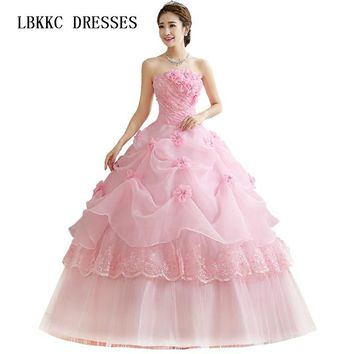 ac53b57155 Quinceanera Dresses Cheap Organza Red Pink White Floor Length Ch