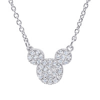 Mickey Mouse Icon Necklace by CRISLU - Platinum | Disney Store