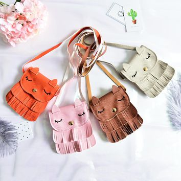 Cute Cat Shape Baby Girls tassel Purse handbag Kids Cross-body shoulder bag Cross Body Tassel Tote Purse Messenger Satchel Bag