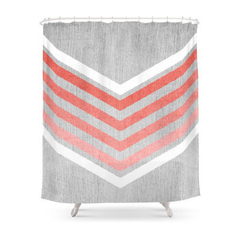 Society6 Coral Gradient Chevron On Silver Grey Wood Shower Curtains