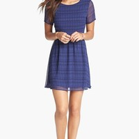 Lush V-Back Print Skater Dress (Juniors) | Nordstrom