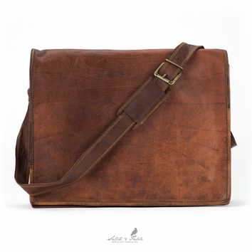 Handmade Moroccan goat Leather  Leather Flap Laptop Messenger Bag