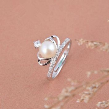 ESBONU3 Sterling silver crown pearl ring personalized minimalist influx of people finger joint ring