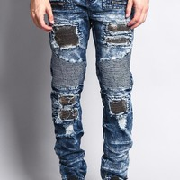 Stain Washed Contrast Patching Twill Biker Jeans DL1089 - BB8F