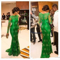 Long Sleeve Prom Celebrity Dresses Green Lace Mermaid Chiffon High Neck Court Train Formal