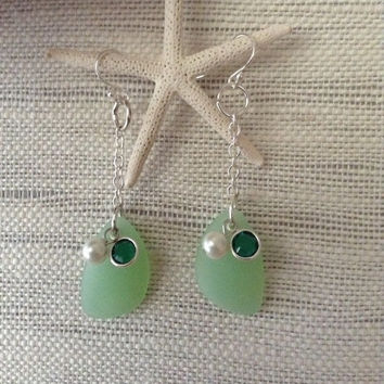 Green sea glass earrings, sea glass earrings with Swarovski crystal and pearl with nickel free components and wires